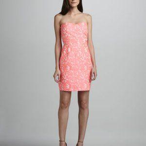 Strapless pink brocade dress